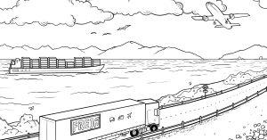 värityskuva rekka laiva