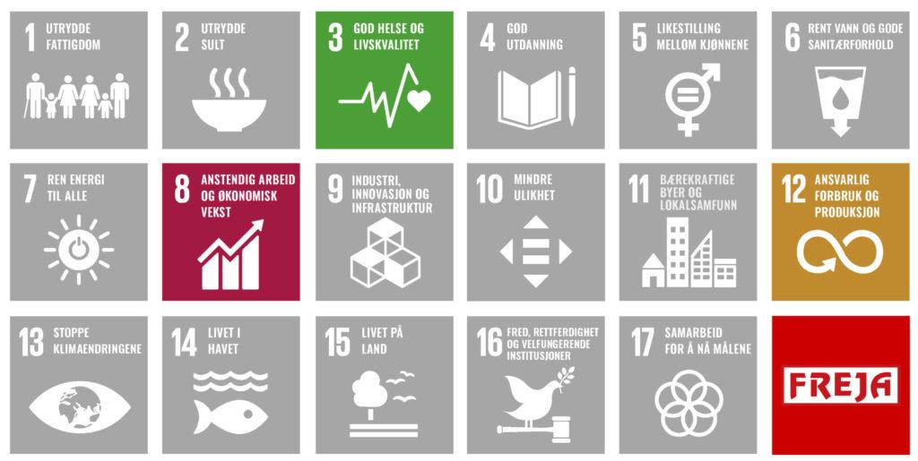 De tre bærekraftsmålene FREJA har hatt fokus på i 2020